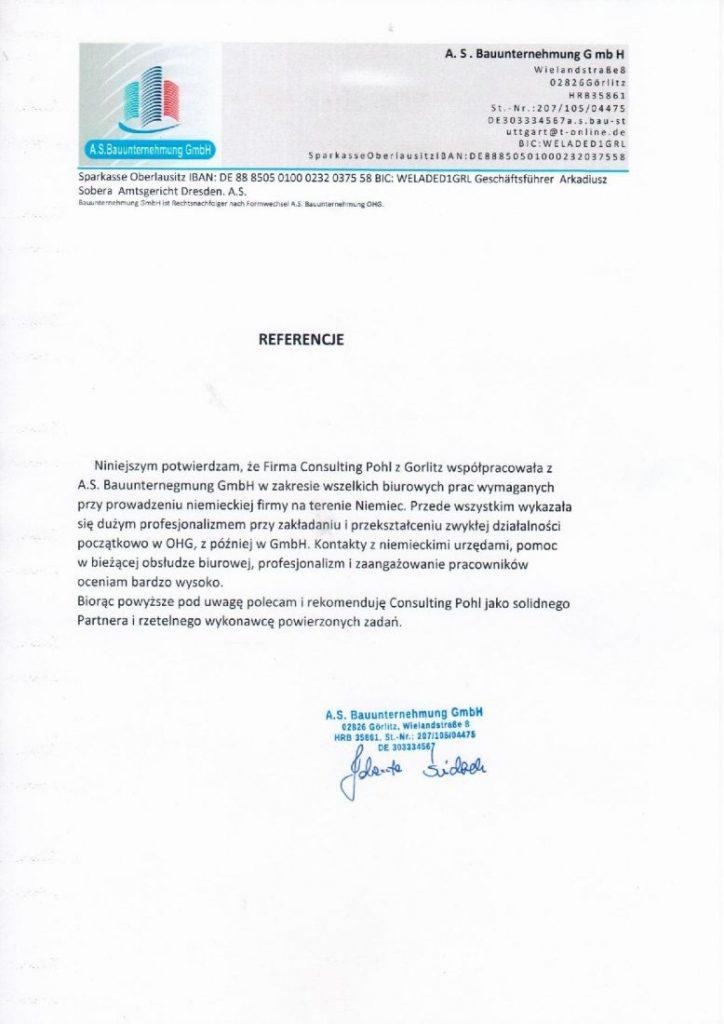 Referencje A.S. Bauunternehmung G mb H