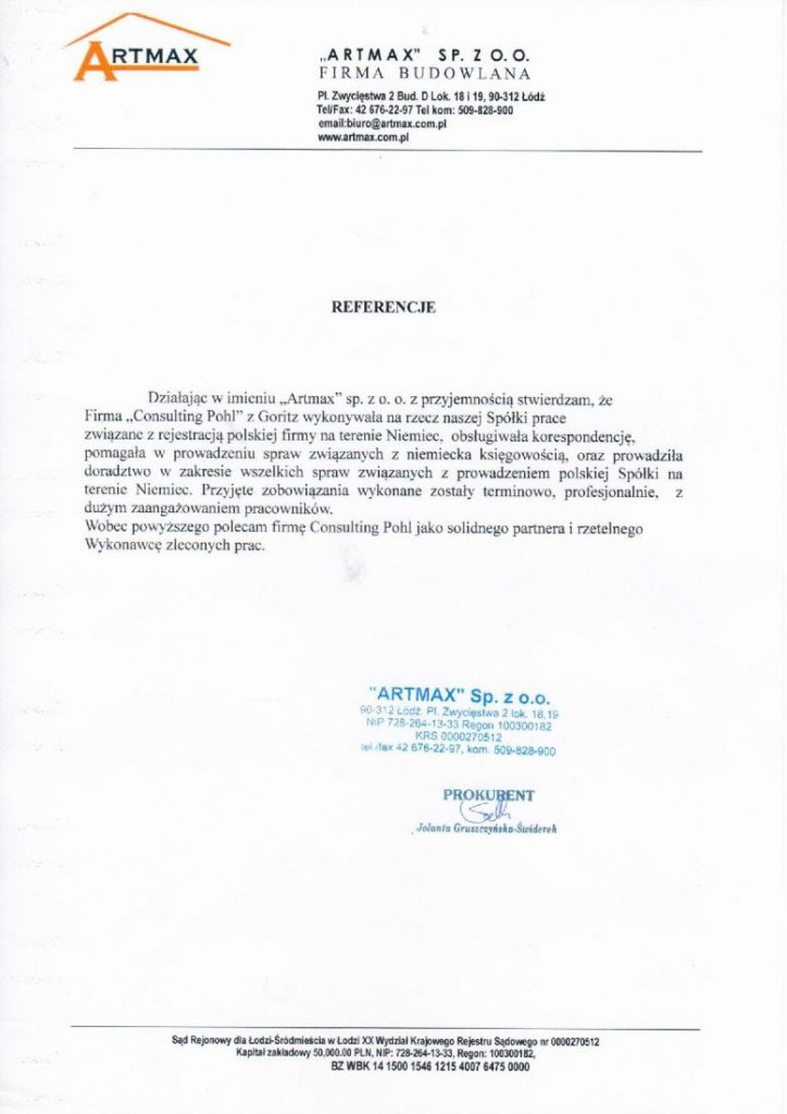 Referencje ARTMAX