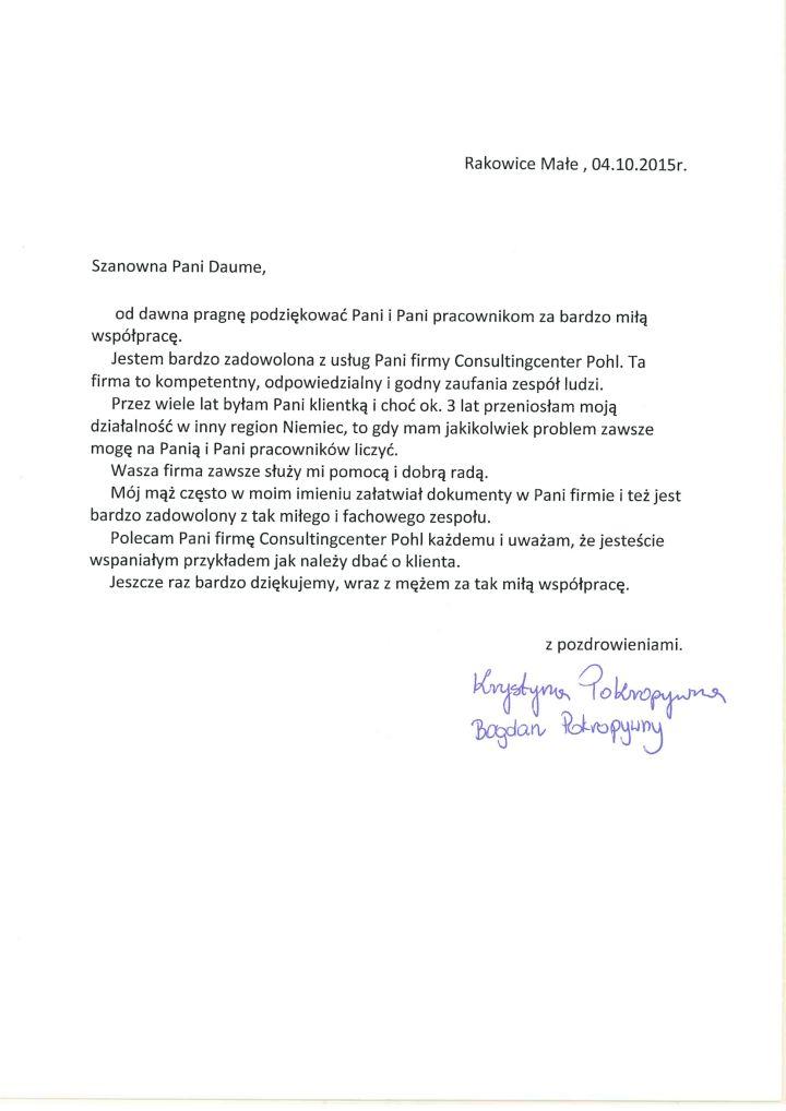 Referencje Krystyna Pokropywna