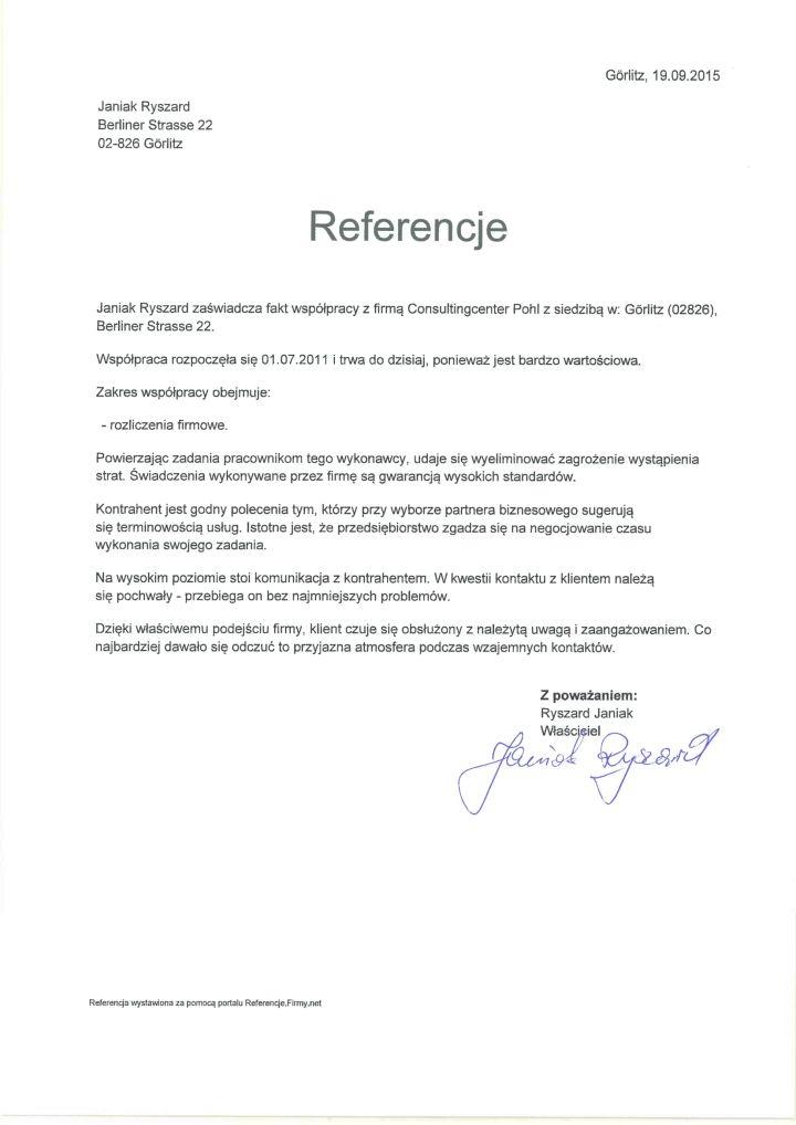 Referencje Janiak Ryszard