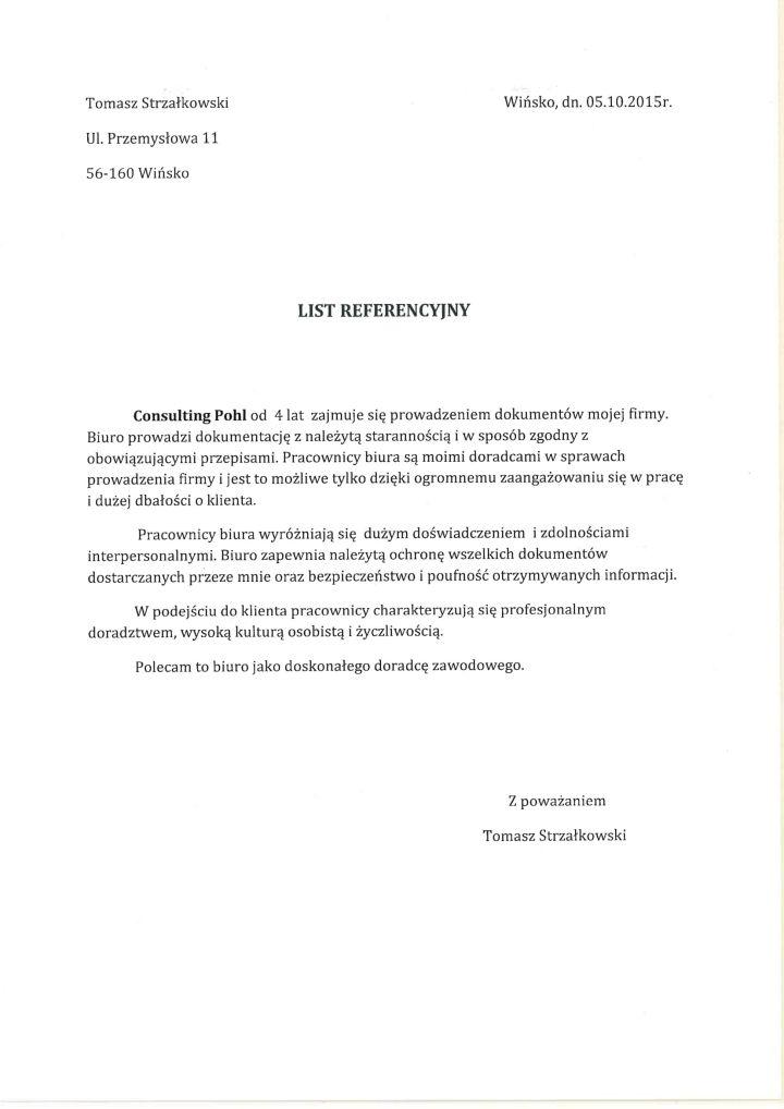 Referencje Tomasz Strzałkowski