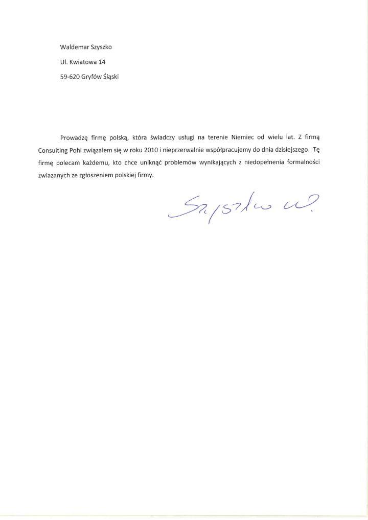Referencje Waldemar Szyszko