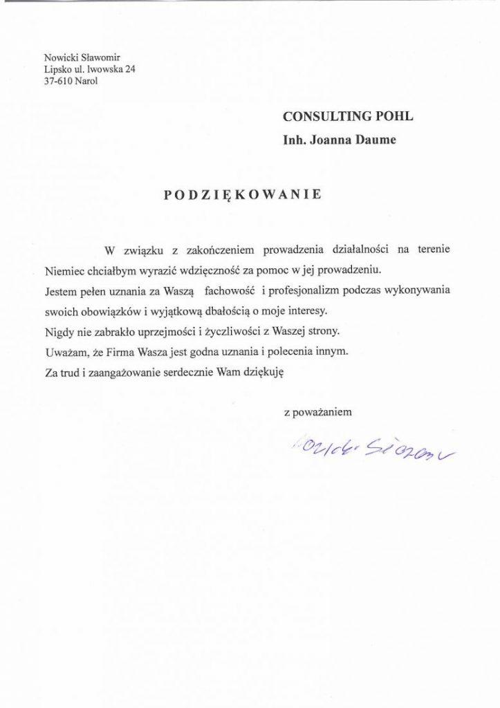 Referencje Nowicki Sławomir